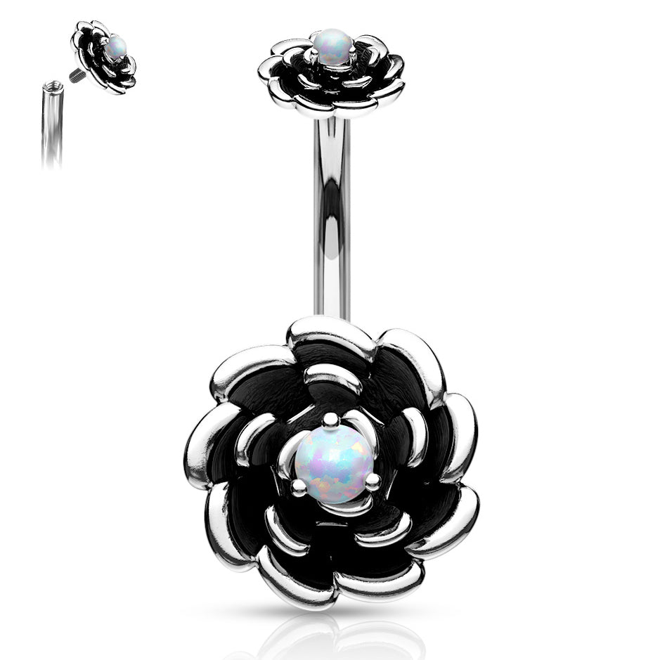Split Spinal Belly Bar. High End Belly Rings. Ziva Opal Flower Belly Ring