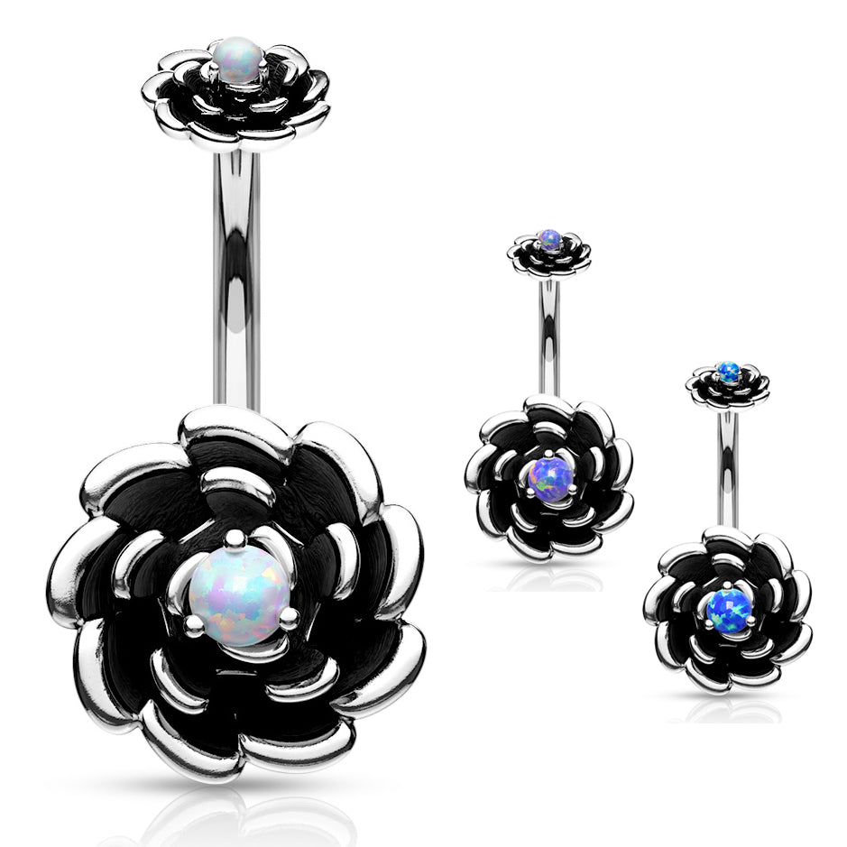 Ziva Opal Flower Belly Ring - Split Spinal Belly Bar. Navel Rings Australia.
