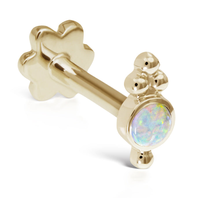 Opal Four Ball Trinity Earring by Maria Tash in 14K Gold. Flat Stud. - Earring. Navel Rings Australia.