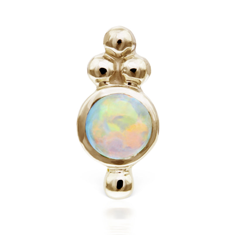 Earring. Shop Belly Rings. Opal Four Ball Trinity Earring by Maria Tash in 14K Gold. Flat Stud.