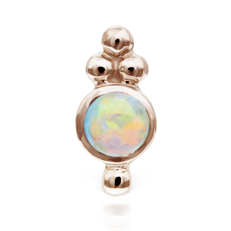 Earring. Belly Rings Australia. Opal Four Ball Trinity Earring by Maria Tash in 14K Rose Gold. Flat Stud.