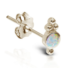 Opal Four Ball Trinity Earring by Maria Tash in 14K Gold. Butterfly Stud.