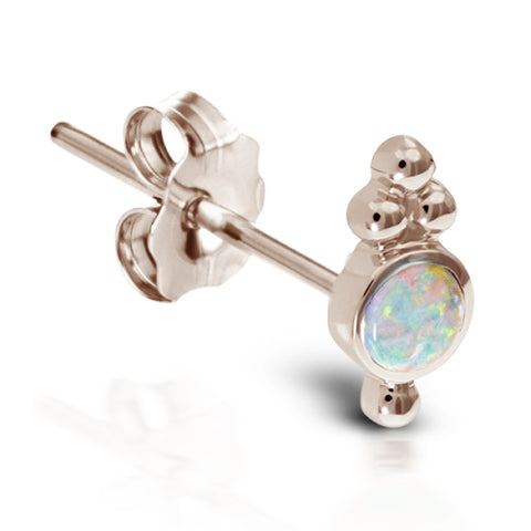 Opal Four Ball Trinity Earring by Maria Tash in 14K Rose Gold. Butterfly Stud.
