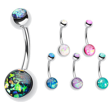 Steel Opal Gleam Classique Belly Bars - Basic Curved Barbell. Navel Rings Australia.