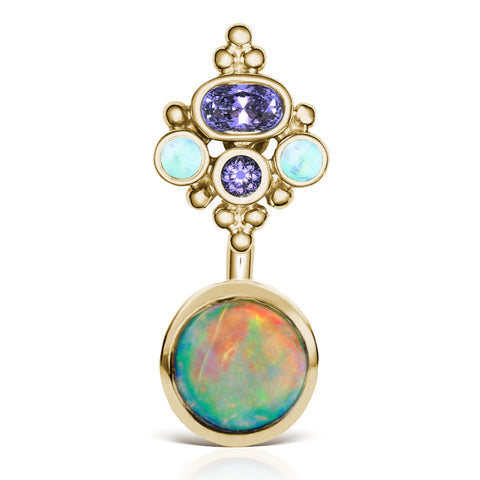 Basic Curved Barbell. Shop Belly Rings. Opal n' Tanzanite MT Crown Belly Ring in Gold by Maria Tash