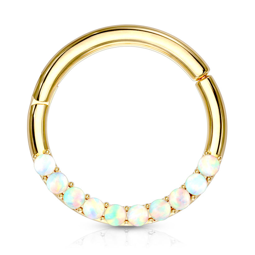 Opal Septum & Daith Segment Ring in 14K Gold - Septum. Navel Rings Australia.