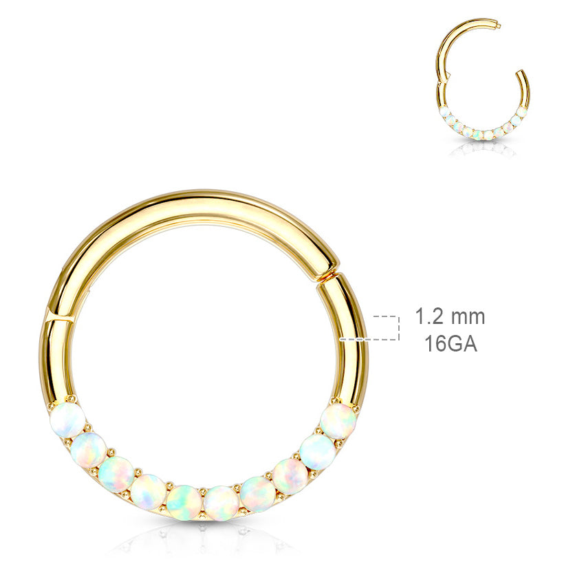 Septum. Quality Belly Rings. Opal Septum & Daith Segment Ring in White Gold