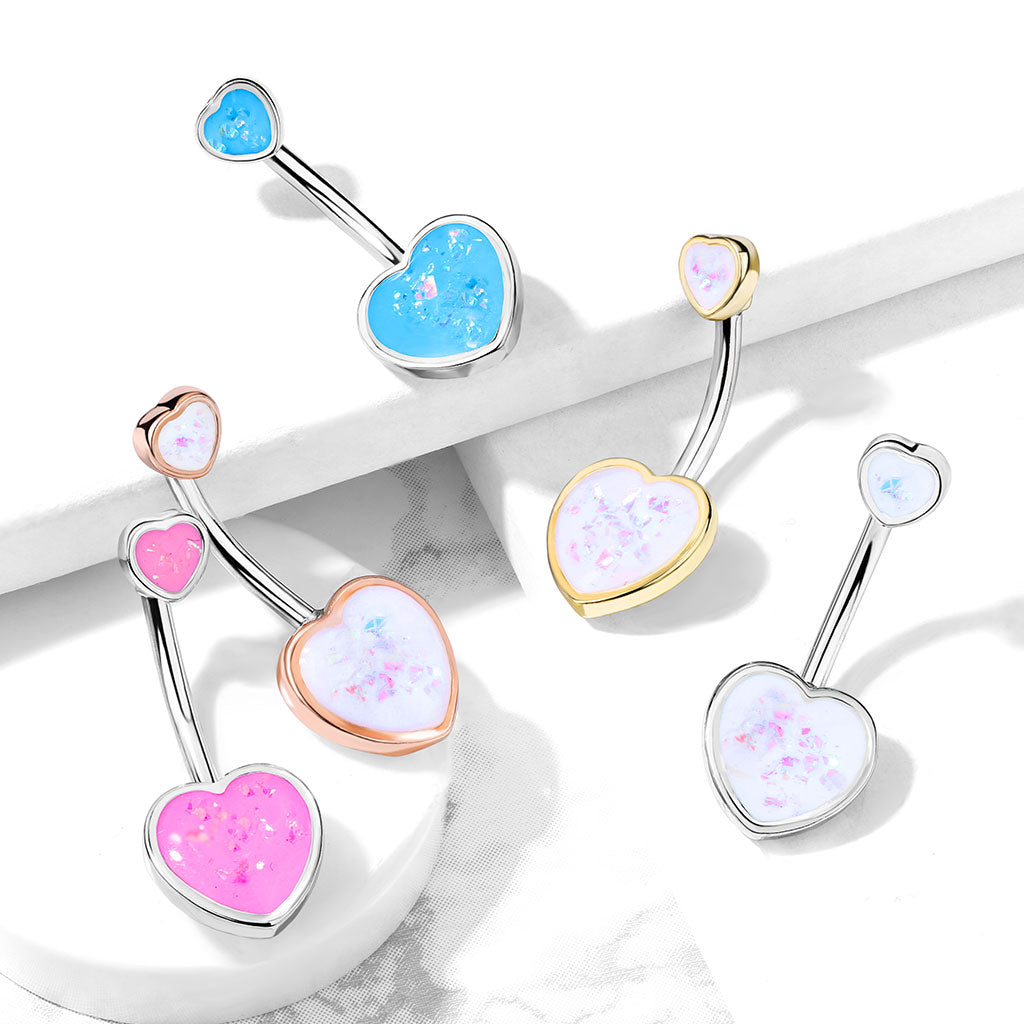 Fixed (non-dangle) Belly Bar. Cute Belly Rings. Maja Heart Opal Belly Bar in Gold