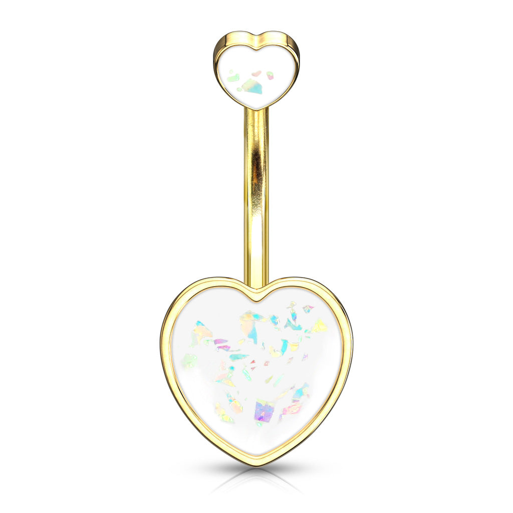 Maja Heart Opal Belly Bar in Gold - Fixed (non-dangle) Belly Bar. Navel Rings Australia.