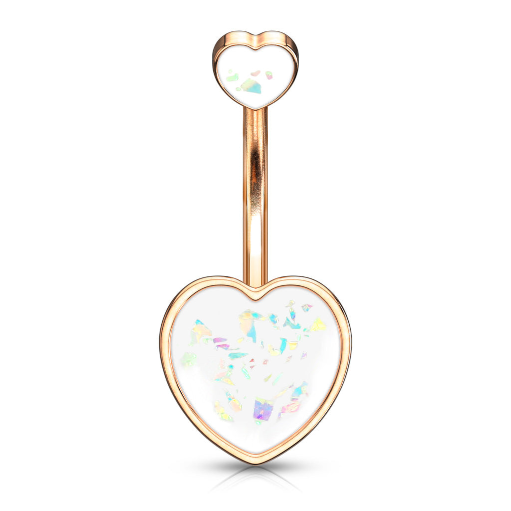 Maja Heart Opal Belly Bar in Rose Gold - Fixed (non-dangle) Belly Bar. Navel Rings Australia.