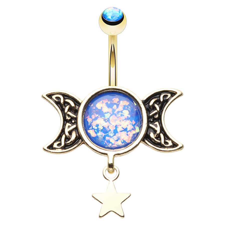 Ancients Opal Moon Belly Dangle - Dangling Belly Ring. Navel Rings Australia.
