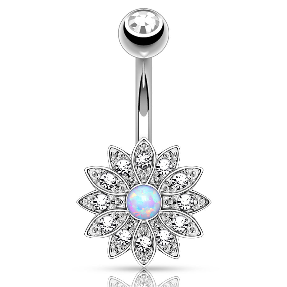 Jeweled Petal Opal Belly Button Ring - Fixed (non-dangle) Belly Bar. Navel Rings Australia.