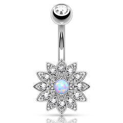 Jeweled Petal Opal Belly Button Ring