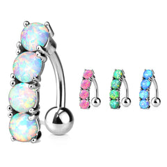 Classic Opal Drop Reverse Belly Ring