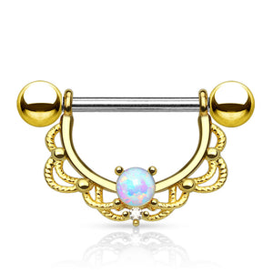 Ópalo Filigree Nipple Jewellery in Gold - Nipple Ring. Navel Rings Australia.