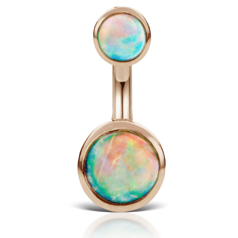 Australian Opal 14K Rose Gold Belly Ring by Maria Tash - Basic Curved Barbell. Navel Rings Australia.