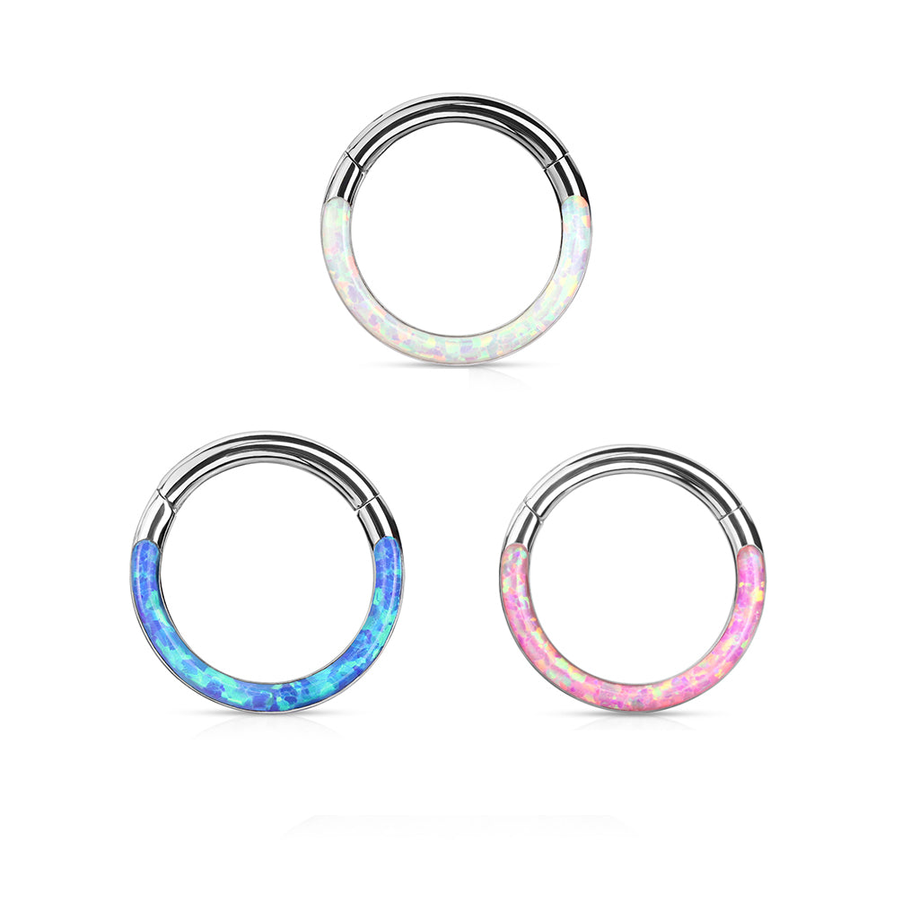 Starlight Opal Segment Clicker Piercing - Clicker Belly Ring. Navel Rings Australia.
