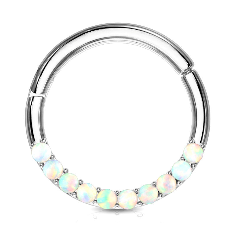Opal Septum & Daith Segment Ring in White Gold - Septum. Navel Rings Australia.