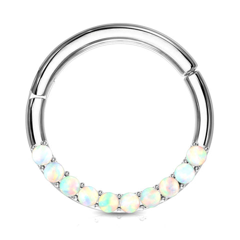 Opal Septum & Daith Segment Ring in White Gold