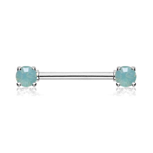 Nipple Ring. High End Belly Rings. Double Opaline Nipple Barbell Ring