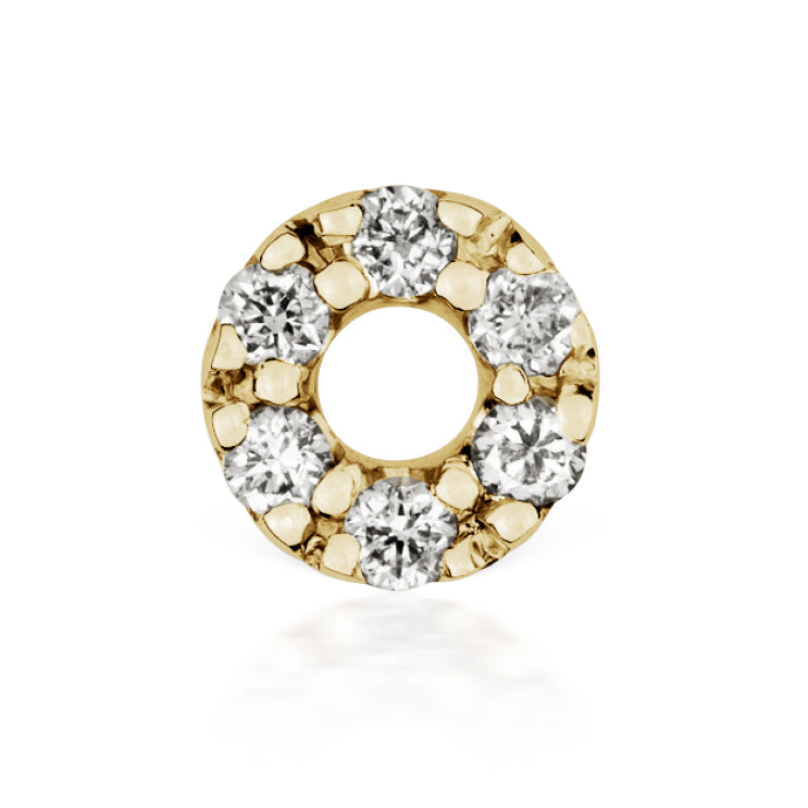 Diamond Micropavé Open Circle Earring by Maria Tash in 14K Gold. Threaded Stud. - Earring. Navel Rings Australia.