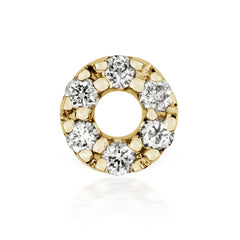 Diamond Micropavé Open Circle Earring by Maria Tash in 14K Gold. Threaded Stud.
