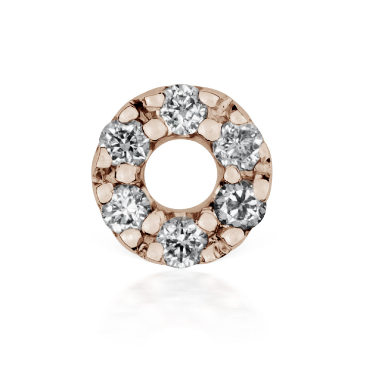 Diamond Micropavé Open Circle Earring by Maria Tash in 14K Rose Gold. Threaded Stud. - Earring. Navel Rings Australia.