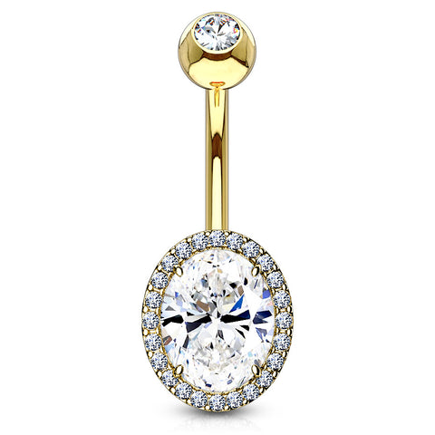 Basic Curved Barbell. Quality Belly Rings. Jojo Ovaline Belly Bar in Gold