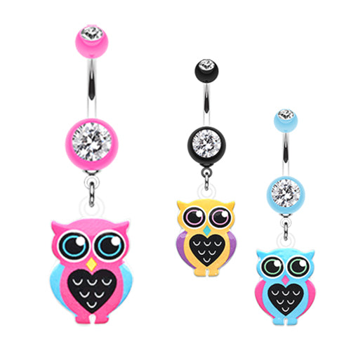 Mrs Know it Owl Belly Ring - Dangling Belly Ring. Navel Rings Australia.