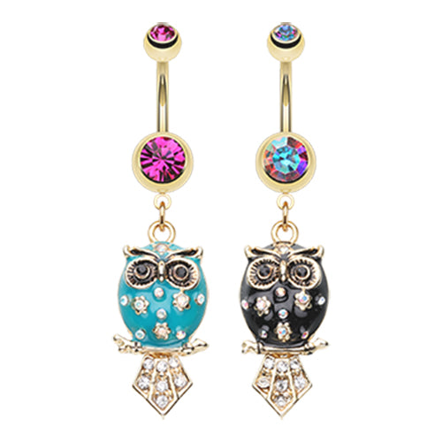 The Wisdom Owl Navel Ring - Dangling Belly Ring. Navel Rings Australia.
