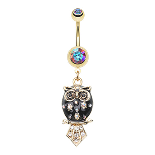 Dangling Belly Ring. Quality Belly Bars. The Wisdom Owl Navel Ring