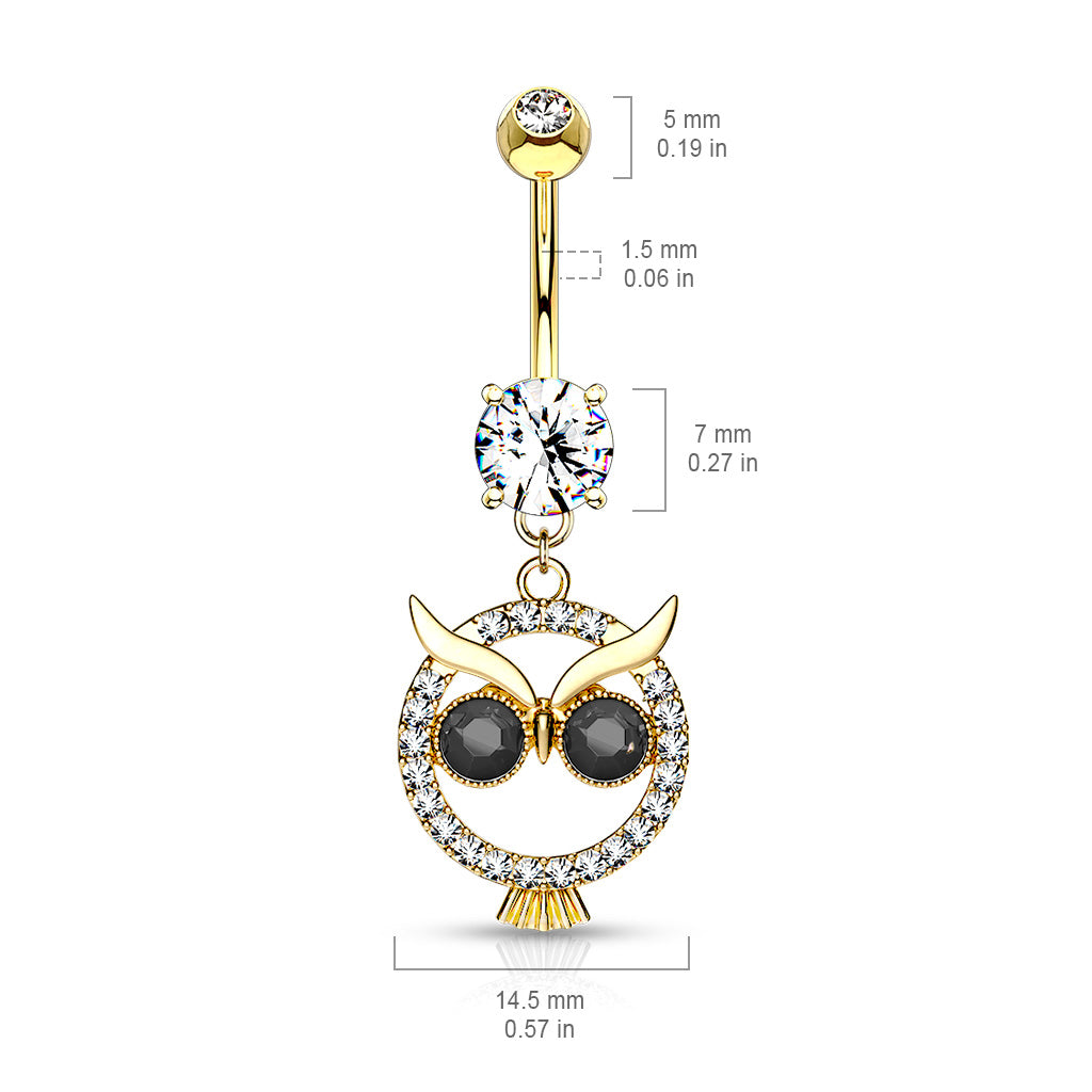 Dangling Belly Ring. High End Belly Rings. Mångata Hooting Owl Belly Bar in Gold