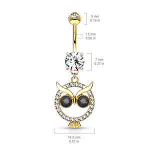 Mångata Hooting Owl Belly Bar - Dangling Belly Ring. Navel Rings Australia.