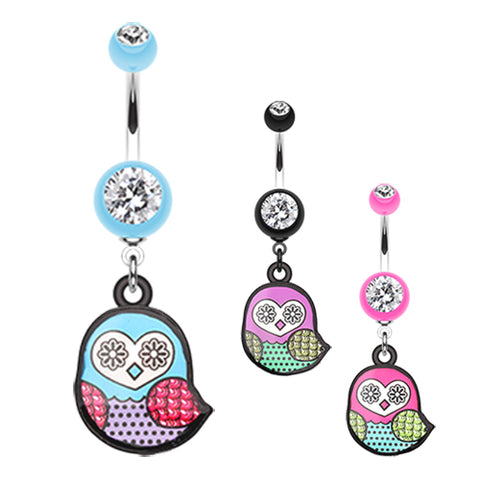 Dangling Belly Ring. Quality Belly Bars. Owl Eyes On You Belly Dangle