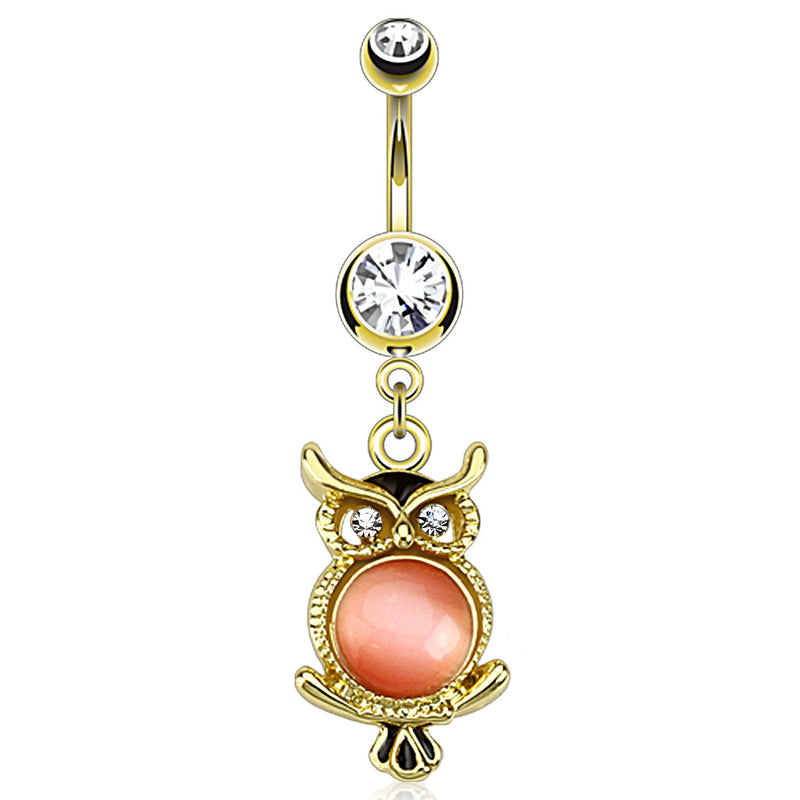 Wise Owl with Cats Eye Dangling Belly Bar - Dangling Belly Ring. Navel Rings Australia.