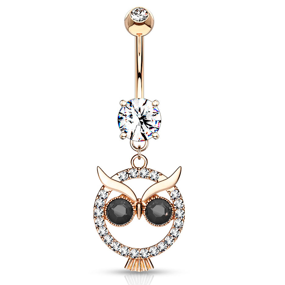 Mångata Hooting Owl Belly Bar in Rose Gold - Dangling Belly Ring. Navel Rings Australia.