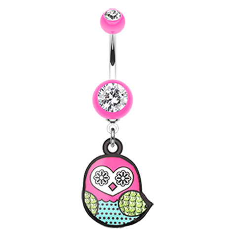 Owl Eyes On You Belly Dangle - Dangling Belly Ring. Navel Rings Australia.