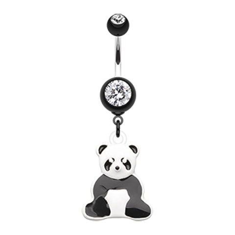 Dangling Belly Ring. High End Belly Rings. Panda Power Belly Bar