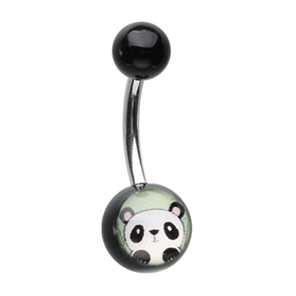Peeping Panda Belly Bar - Basic Curved Barbell. Navel Rings Australia.