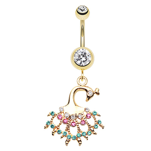 Gold Rainbow Peacock Belly Ring - Dangling Belly Ring. Navel Rings Australia.