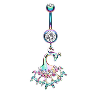 Metallic Rainbow Peacock Navel Ring - Dangling Belly Ring. Navel Rings Australia.