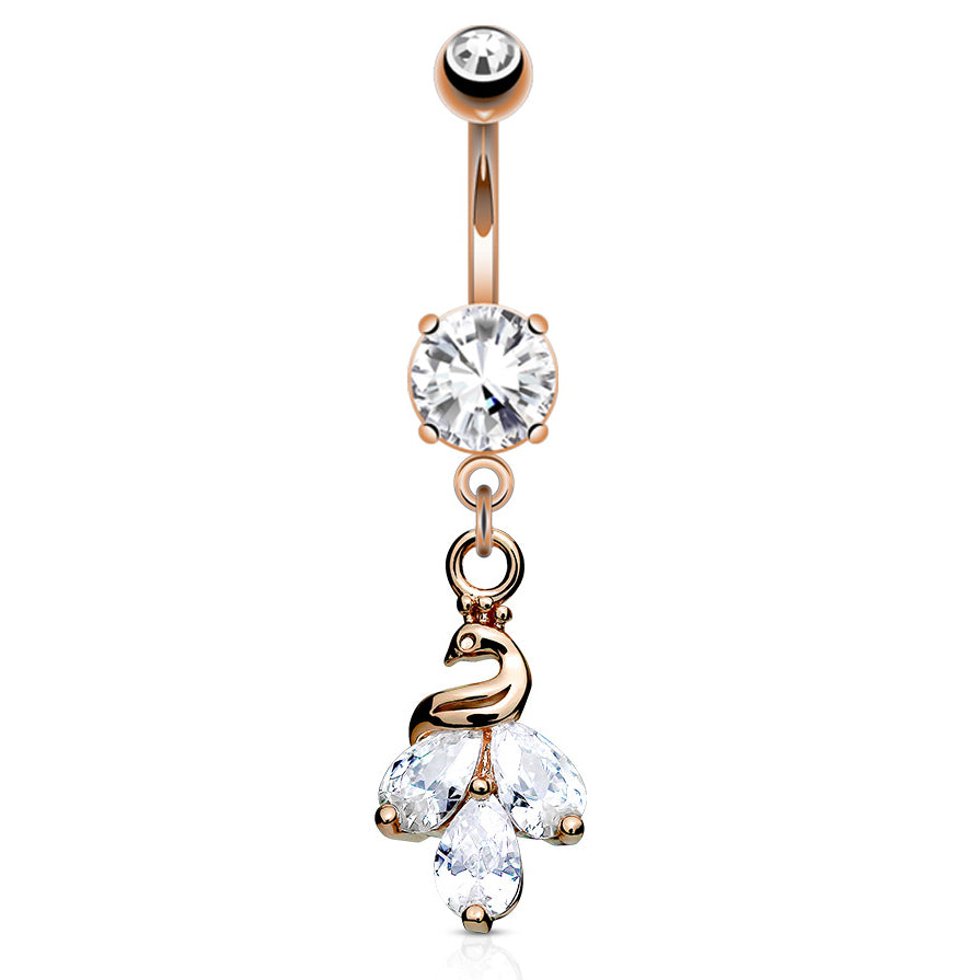 Kalapini Peacock Belly Ring in Rose Gold - Dangling Belly Ring. Navel Rings Australia.