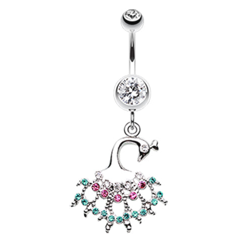 Dangling Belly Ring. Cute Belly Rings. Rainbow Peacock Belly Ring