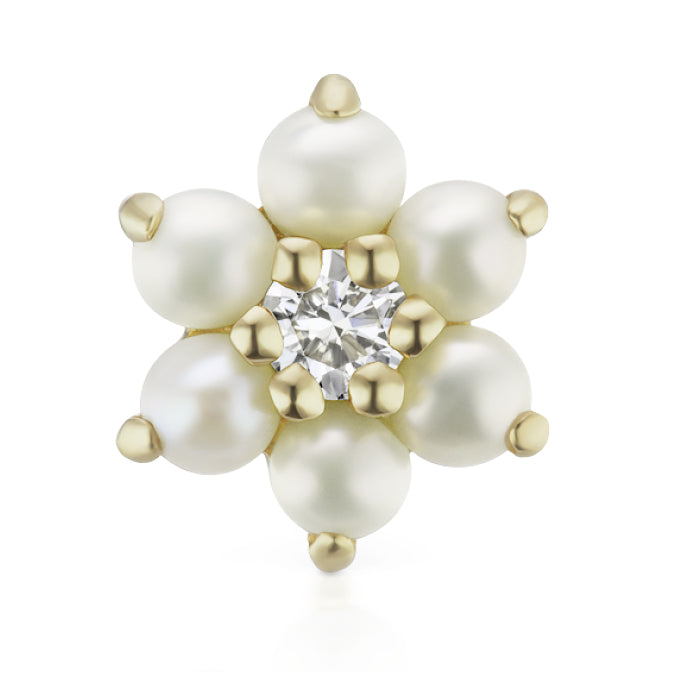 Earring. Quality Belly Bars. Pearl Flower Diamond Centre Earring by Maria Tash in 14K Gold. Flat Stud.