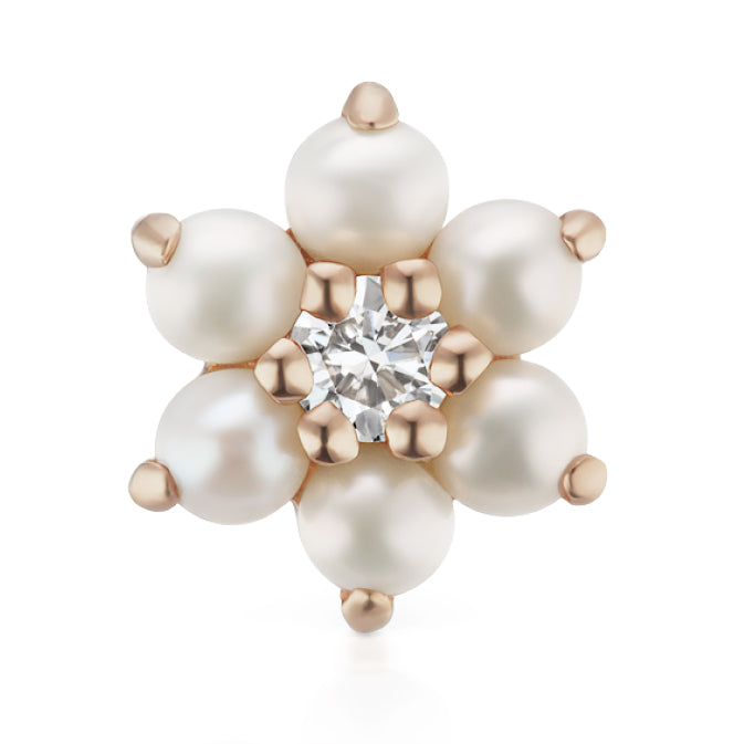 Pearl Flower Diamond Centre Earring by Maria Tash in 14K Rose Gold. Butterfly Stud. - Earring. Navel Rings Australia.