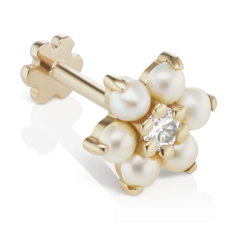 Pearl Flower Diamond Centre Earring by Maria Tash in 14K Gold. Flat Stud.