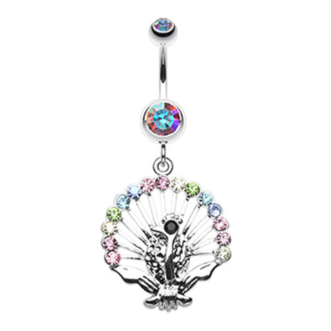 Dangling Belly Ring. High End Belly Rings. Rainbow Peacock Dance Navel Ring