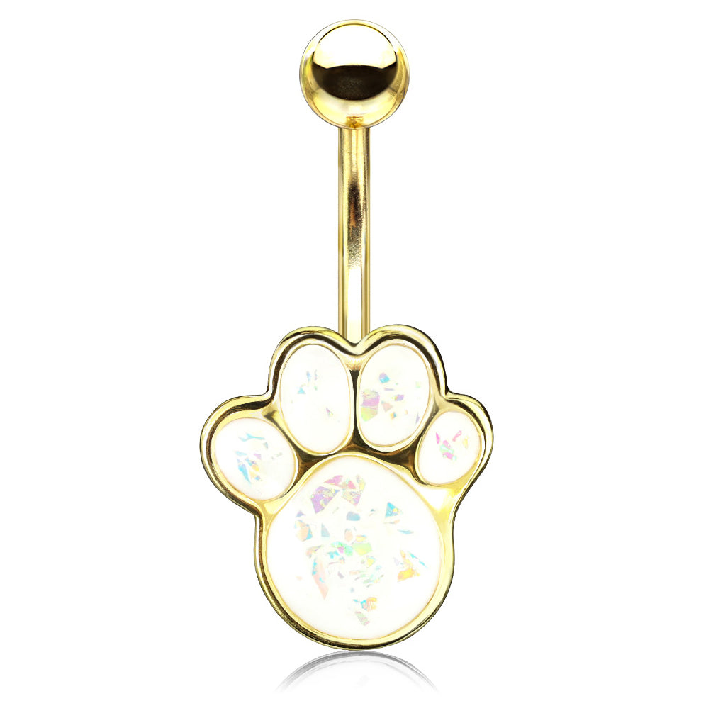 Paw Pals Opal Belly Bar in Gold - Fixed (non-dangle) Belly Bar. Navel Rings Australia.