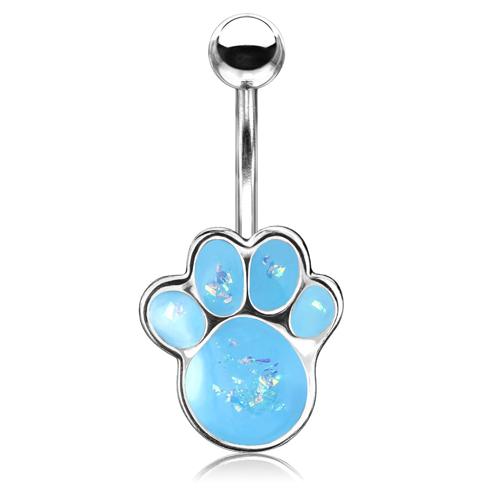 Fixed (non-dangle) Belly Bar. Cute Belly Rings. Paw Pals Opal Belly Bar