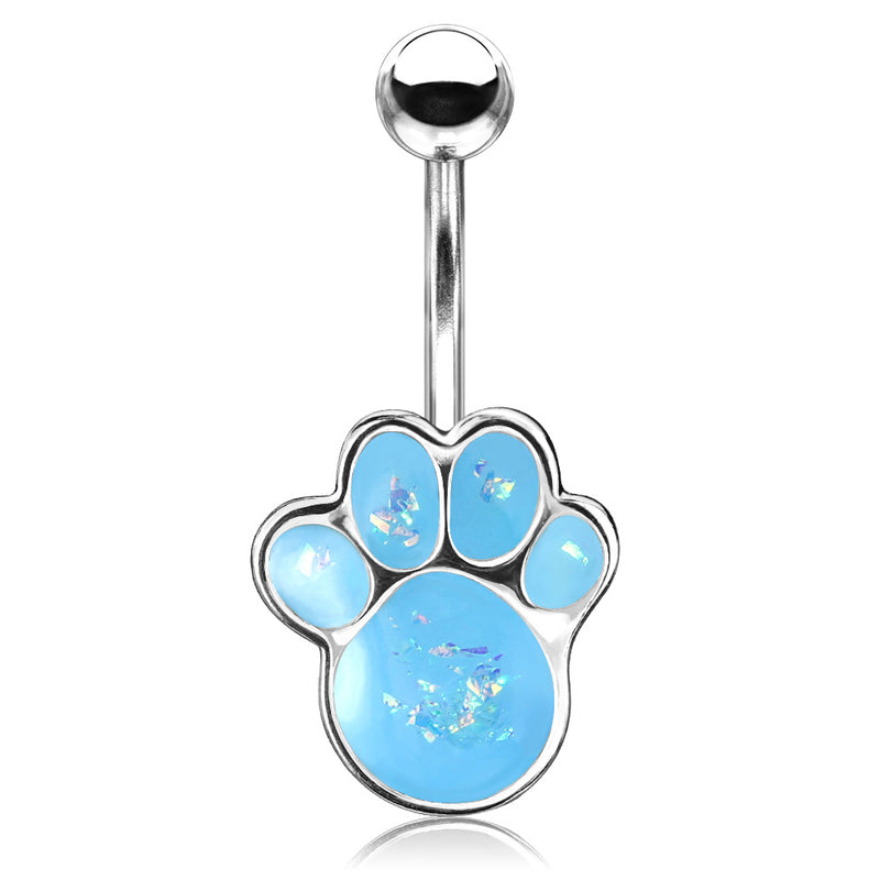 Paw Pals Opal Belly Bar - Fixed (non-dangle) Belly Bar. Navel Rings Australia.